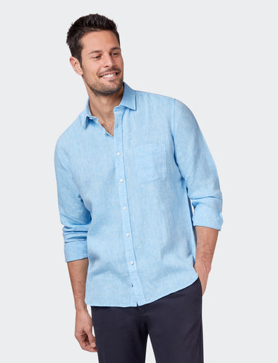 Cooper L/S Linen Plain Shirt    - Light Blue