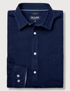 Cooper Long Sleeve Linen Plain Shirt    - Navy