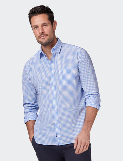 Reggie Long Sleeve Check Shirt - Blue