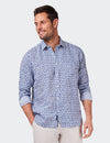 Edward L/S Linen Print Shirt - Navy/White