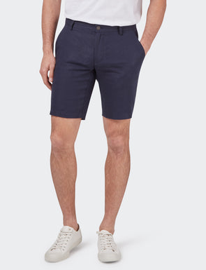 Alex Pure Linen Short - Navy