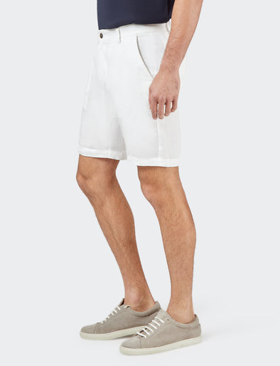 Alex Pure Linen Short - White