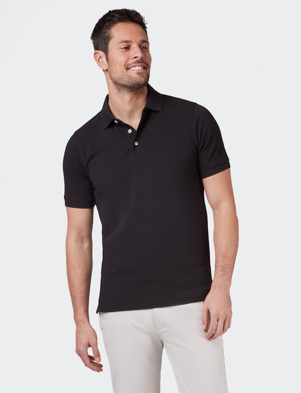 Carter Textured S/S Polo - Black