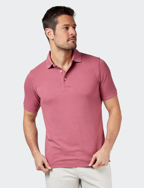 Carter Textured S/S Polo - Pale Pink