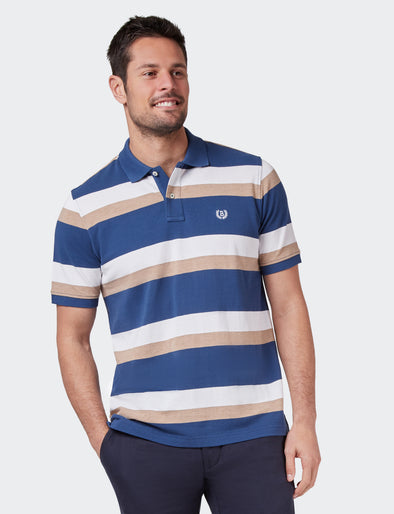 Jude Yd Pq Polo - Navy/Tan