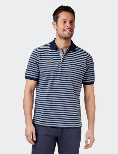 Nathan Mercerised Polo - Navy