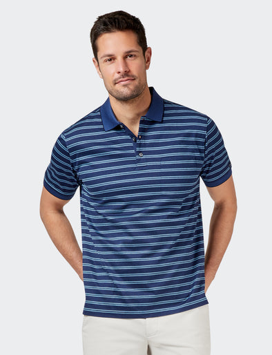Zachary Mercerised Polo - Navy/Blue