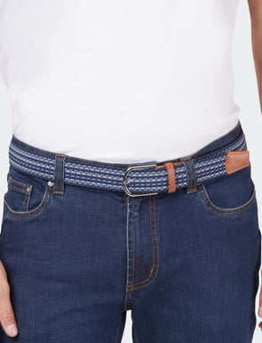 Woven Stretch Belt - Blue Multi