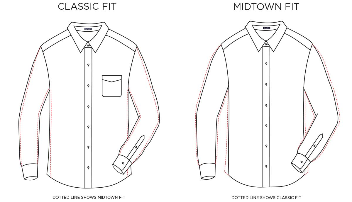 Classic vs Midtown fit Shirts