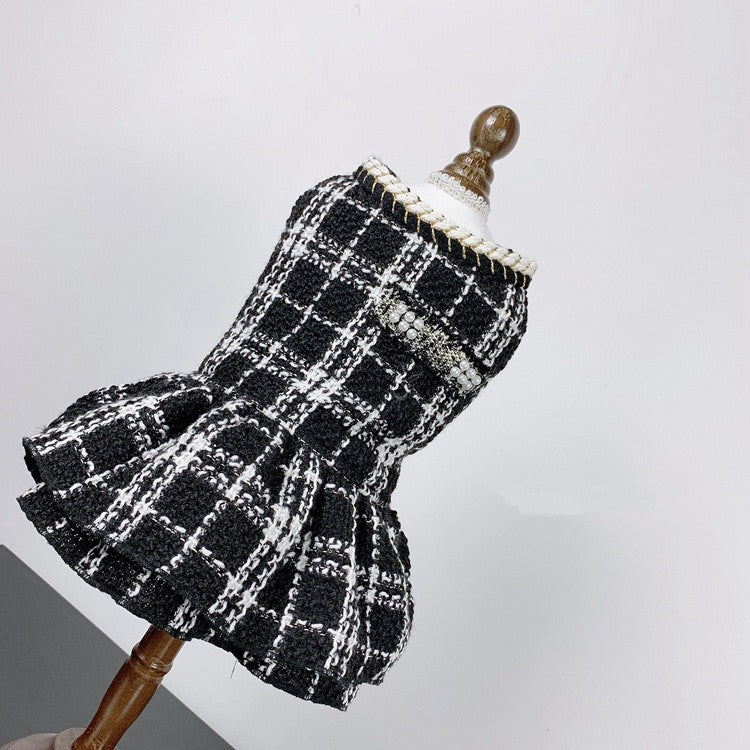 Lux White & Black Check Doggy Skirt