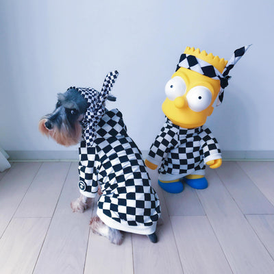 Bathing Pup Plaid Checker Hoodie (HOT NEW ITEM!)