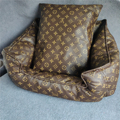 LV Luxury Brown Dog Bed