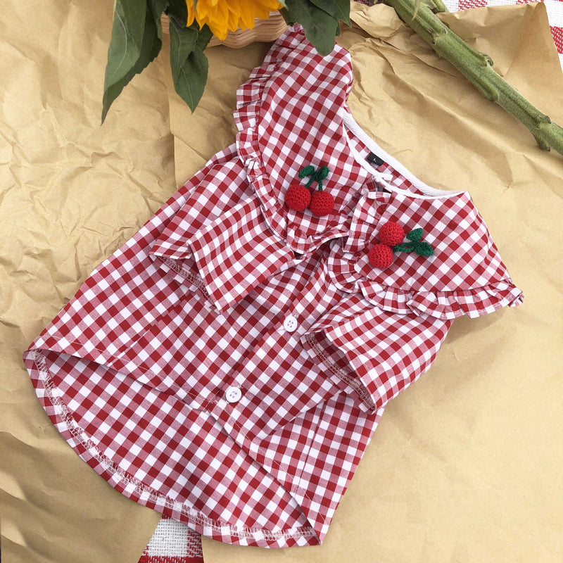 Pretty Handmade Pink Gingham Dog Clothes Dress (HOT ITEM!)