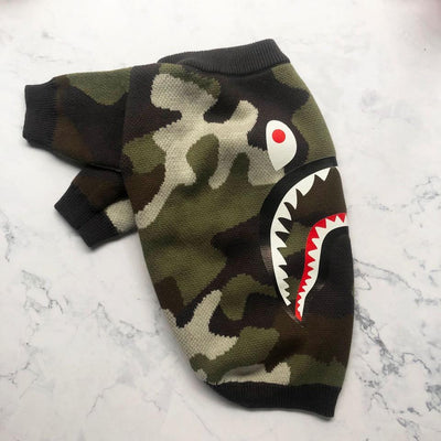 Barking Pup Camo Green Drippy Sweater