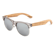 Load image into Gallery viewer, Real Zebra Wood Browline Style RetroShade Sunglasses by WUDN