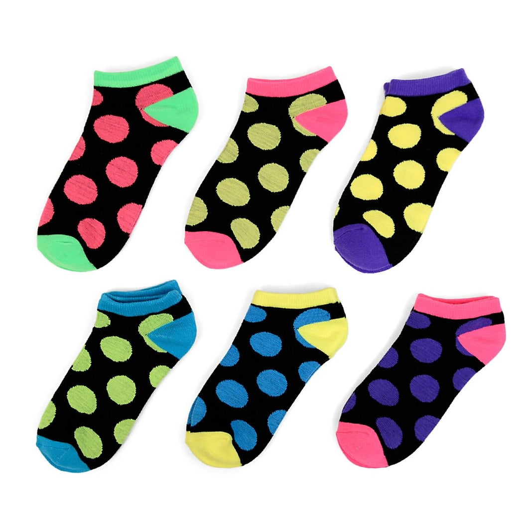 6 PK Multi Color Polka Dot Low Cut Socks