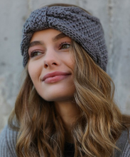 Load image into Gallery viewer, Grey Soft Bow Knit Headband