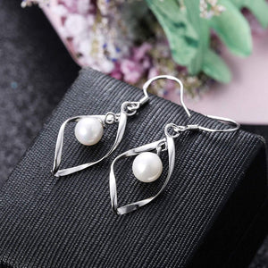 Freshwater Pearl Dangle Earrings in 18K White Gold Plated
