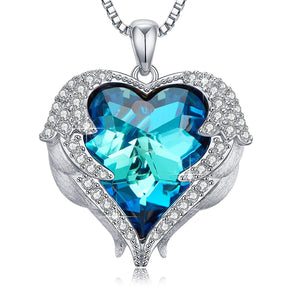 Wings of an Angel Heart Blue Topaz Necklace and Earring Set