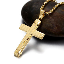 Load image into Gallery viewer, Engraved Cross Pendant Necklace