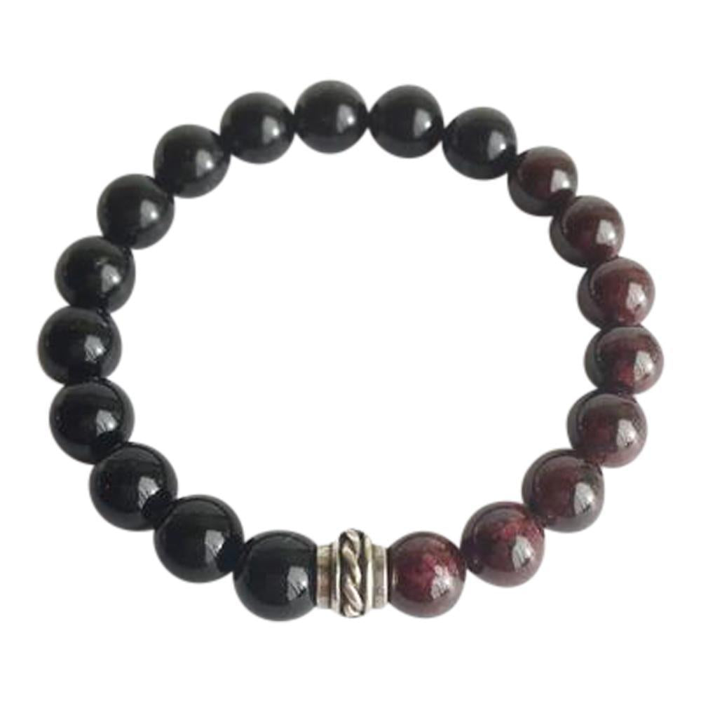 Black Onyx and Garnet Sterling Silver Bracelet