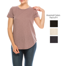 Load image into Gallery viewer, Urban Diction 4 Pack Neutral Curved-Hem Crew Neck Basic Tees