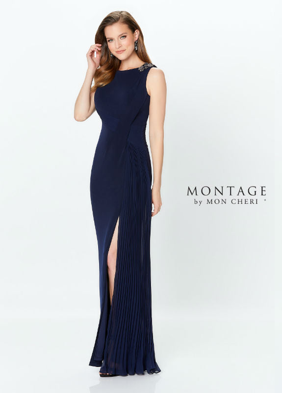 Front View Navy Blue Jersey Fit & Flare Gown With Side Slit 3584