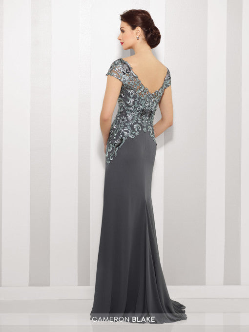Back View Navy Blue and Turquoise Heather Gray Mother of the Bride Gown