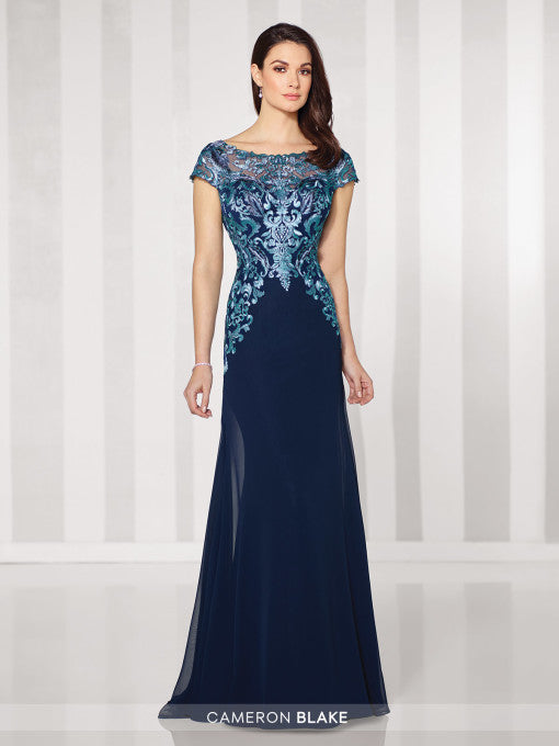 Navy Blue and Turquoise Front View Mother of the Bride Gown