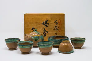 Antique Agano Yaki Teaset with wooden box