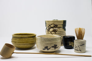 Antique Matcha Oribe Set with wooden box