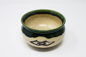 Antique Oribe and Kiyomizu Yaki Matcha Set in wooden box