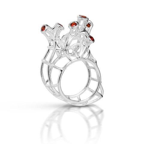Hearts- contour heart with red stones ring