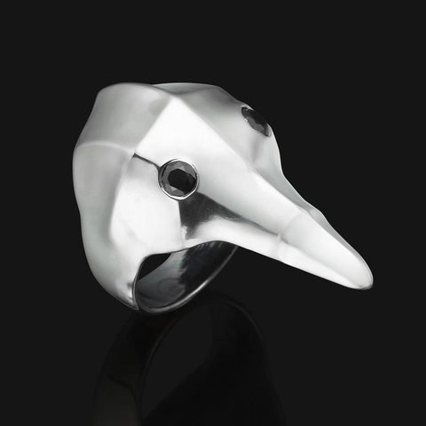 Masks - Crow Ring with black stone eyes