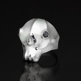 Masks - Skull ring with black stone