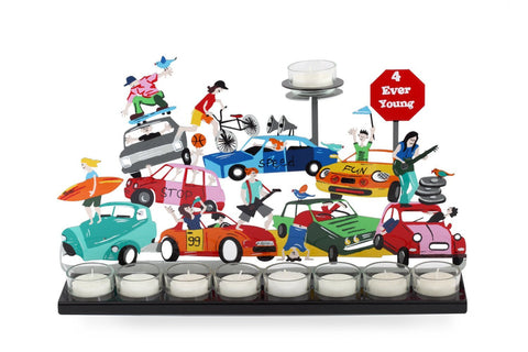 Hanukkah Cars Menorah Multicolor - Tzuki Studio