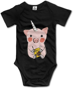 Cartoon Pig Infant Climbing Short Sleeve Onesie One-Piece Baby Bodysuit Clothes Black