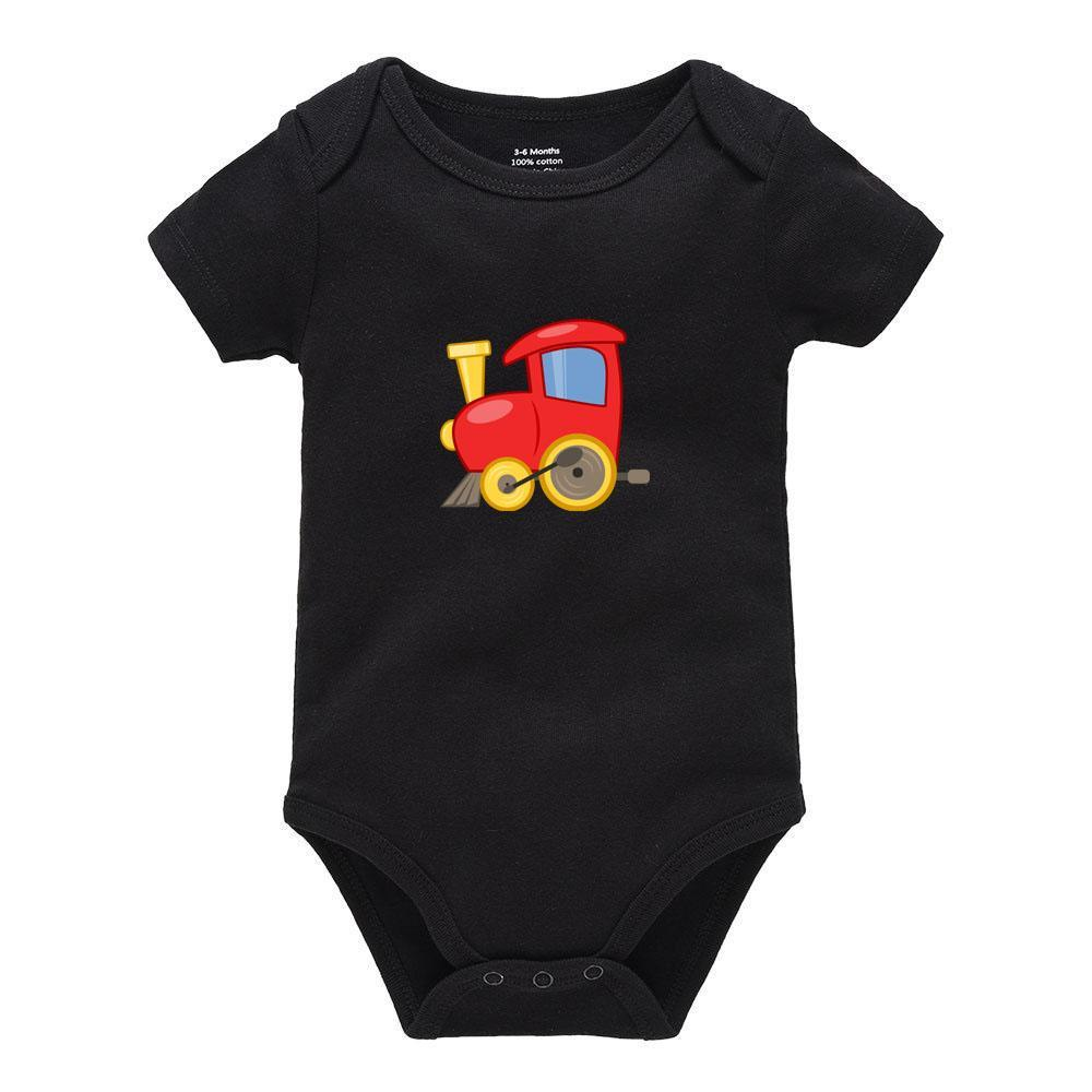 Toy Train Infant Climbing Bodysuit Short Sleeve Romper Jumpsuit Baby Girls Boys 100% Organic Cotton Gray
