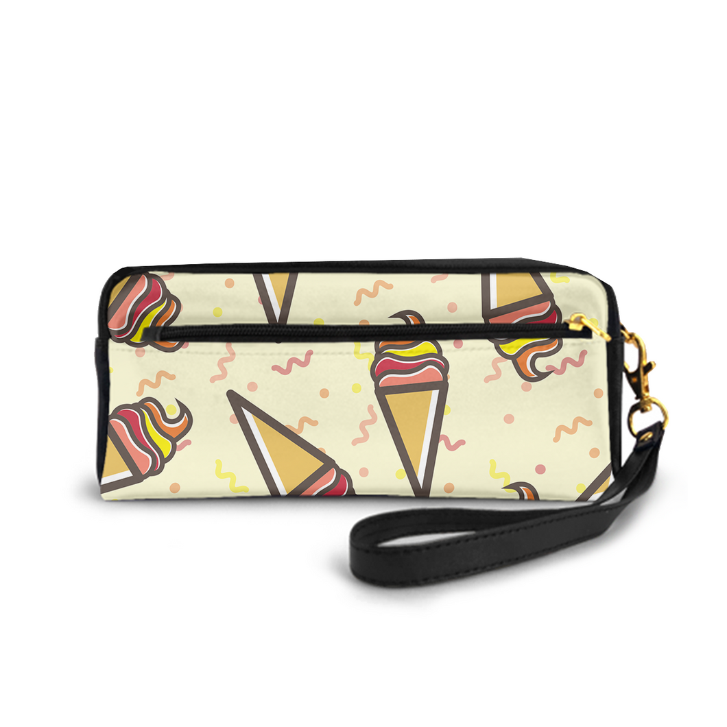 Small Cosmetic Bag Pencil-box PU Leather Make-up Bag Multi-functional Stationery Bag,Ice Cream