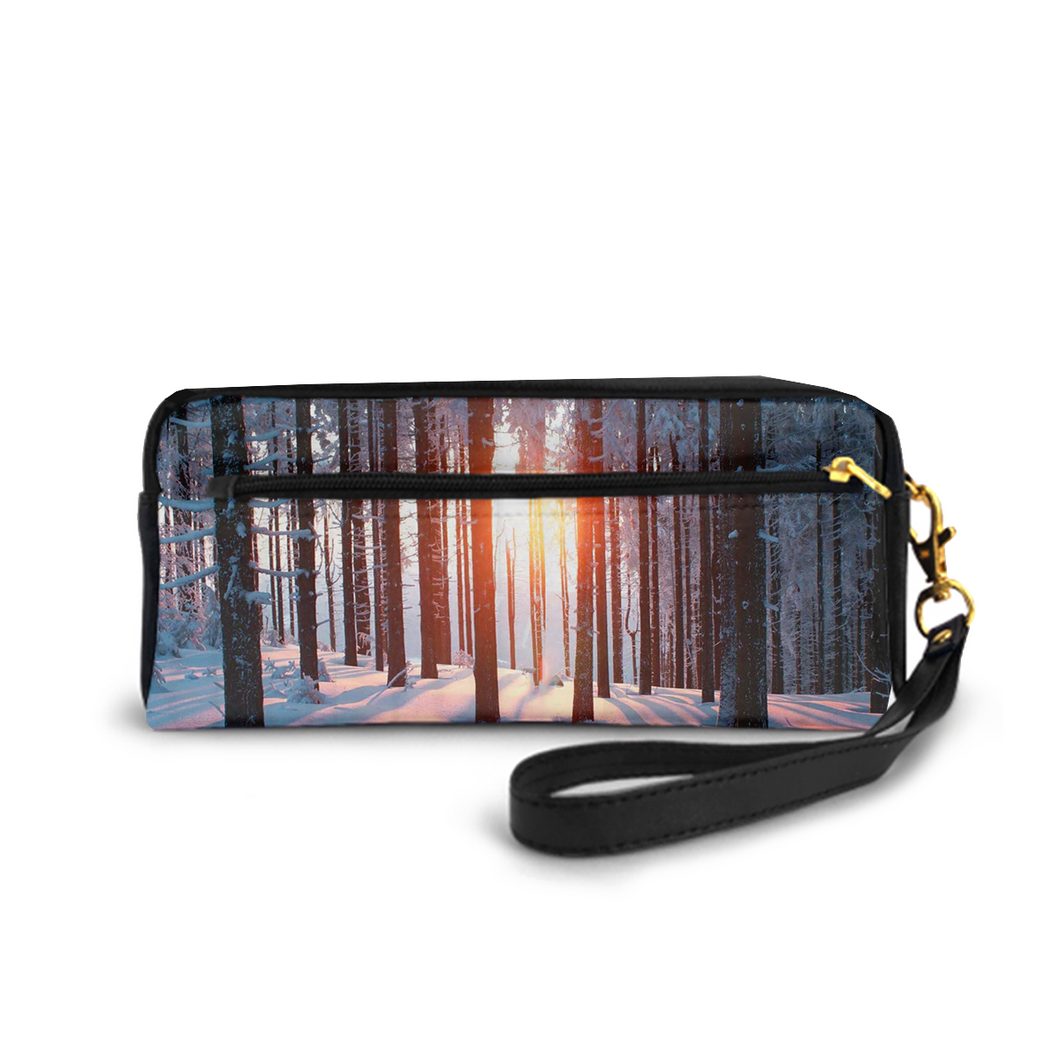 Small Cosmetic Bag Pencil-box PU Leather Make-up Bag Multi-functional Stationery Bag,Sunrise Forest