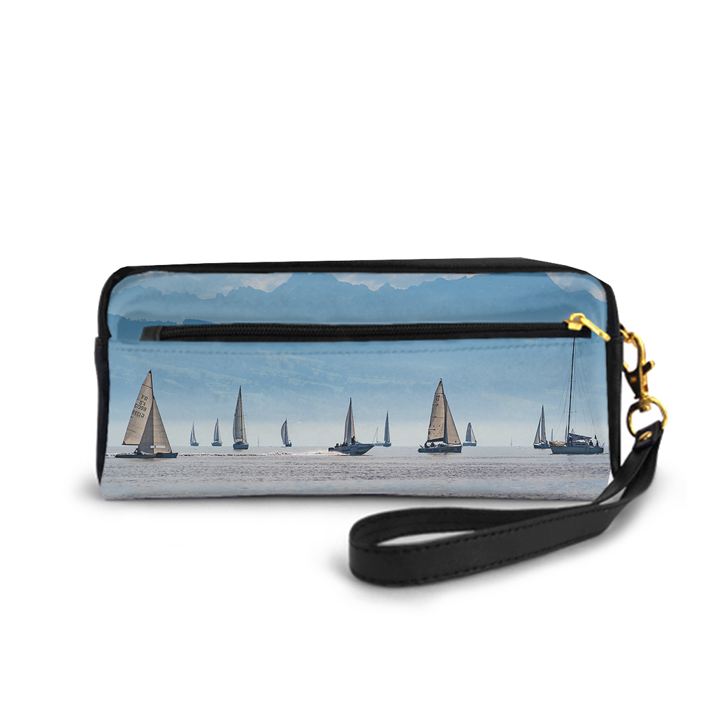 Small Cosmetic Bag Pencil-box PU Leather Make-up Bag Multi-functional Stationery Bag,Sailing Ships