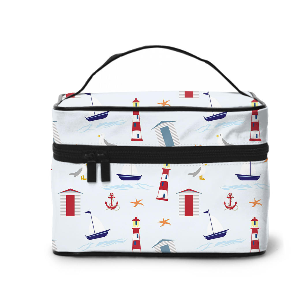 Large Capacity Cosmetic Case Cosmetic Bag, Travel Bag, Handbag, Toiletry Storage Bag,Lighthouses And Ships