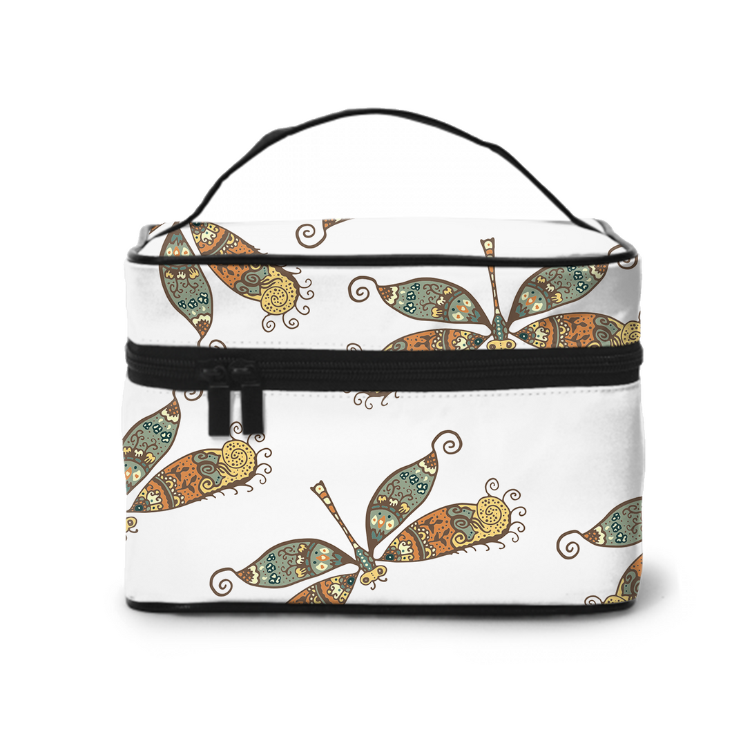 Large Capacity Cosmetic Case Cosmetic Bag, Travel Bag, Handbag, Toiletry Storage Bag,Retro Dragonfly Design
