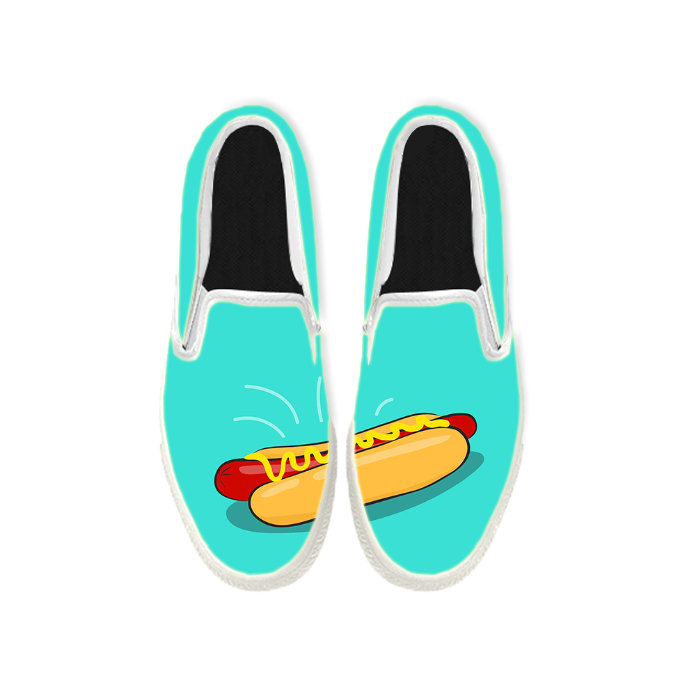Womens Mens Sneaker Canvas Loafers,Flat Shoes,Unisex Art Sneaker,A Hot Dog