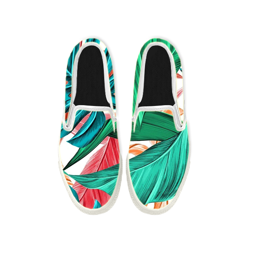 Womens Mens Sneaker Canvas Loafers,Flat Shoes,Unisex Art Sneaker,Patterned Banana Leaves