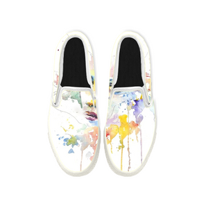 Womens Mens Sneaker Canvas Loafers,Flat Shoes,Unisex Art Sneaker,Personality Watercolor Painting