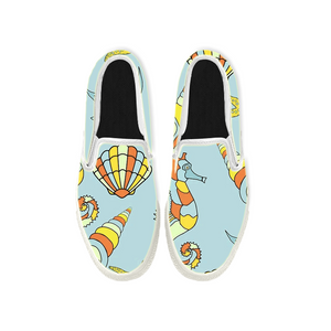 Womens Mens Sneaker Canvas Loafers,Flat Shoes,Unisex Art Sneaker,Small Seahorse