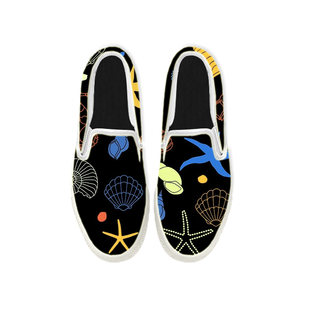 Womens Mens Sneaker Canvas Loafers,Flat Shoes,Unisex Art Sneaker,Stick Figures of Marine Life