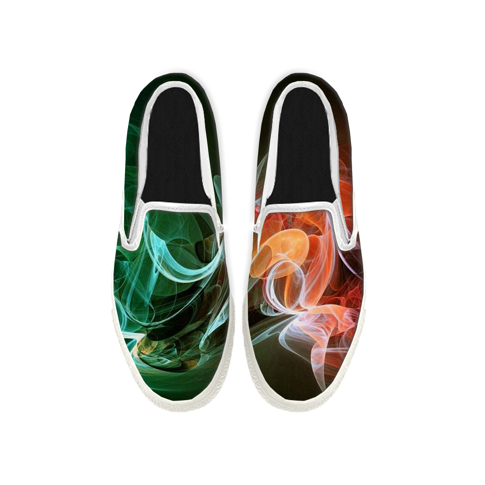Womens Mens Sneaker Canvas Loafers,Flat Shoes,Unisex Art Sneaker,Colored Smoke Pattern