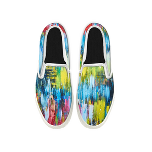 Womens Mens Sneaker Canvas Loafers,Flat Shoes,Unisex Art Sneaker,Colorful Oil Painting
